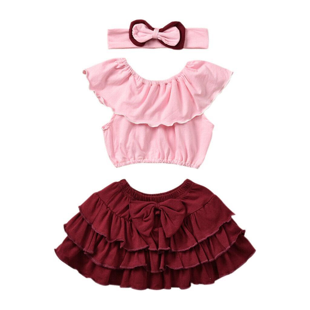 Pudcoco 2019 лето малышей Детская одежда Baby Girl лук жилет розовый цветок Tops Красная юбка 3шт Outfit Ruffle Набор женский пляжный костюм