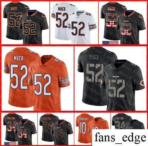 pretty nice 86ef1 638ec 2019 52 Khalil Mack Chicago Bears Jersey 10 Mitchell Trubisky Walter Payton  2018 USA Flag Fashion Impact Lights Out Color Rush Football Jerseys From ...