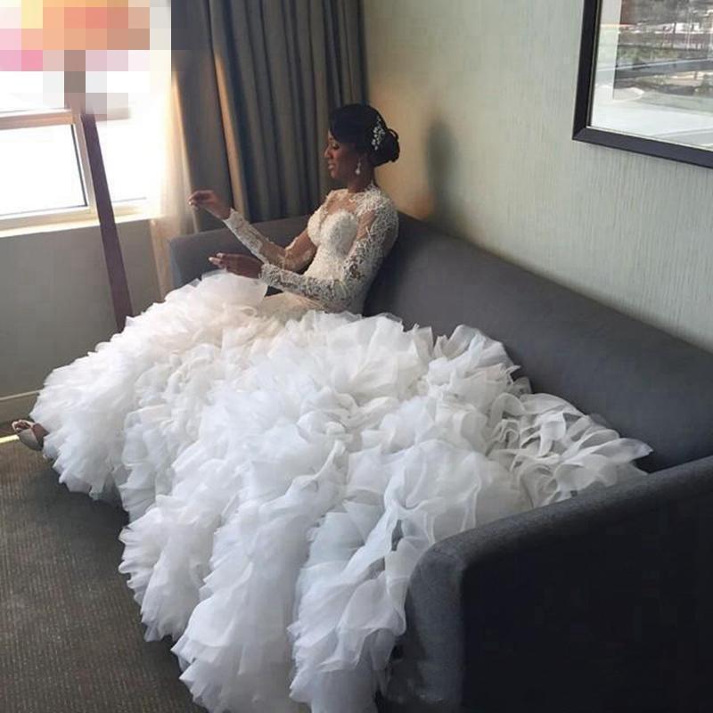 Elegante plus size sereia sereia vestidos de casamento jóias pescoço mangas compridas Ruffles rendas em camadas apliques tule capela trem vestido nupcial vestido
