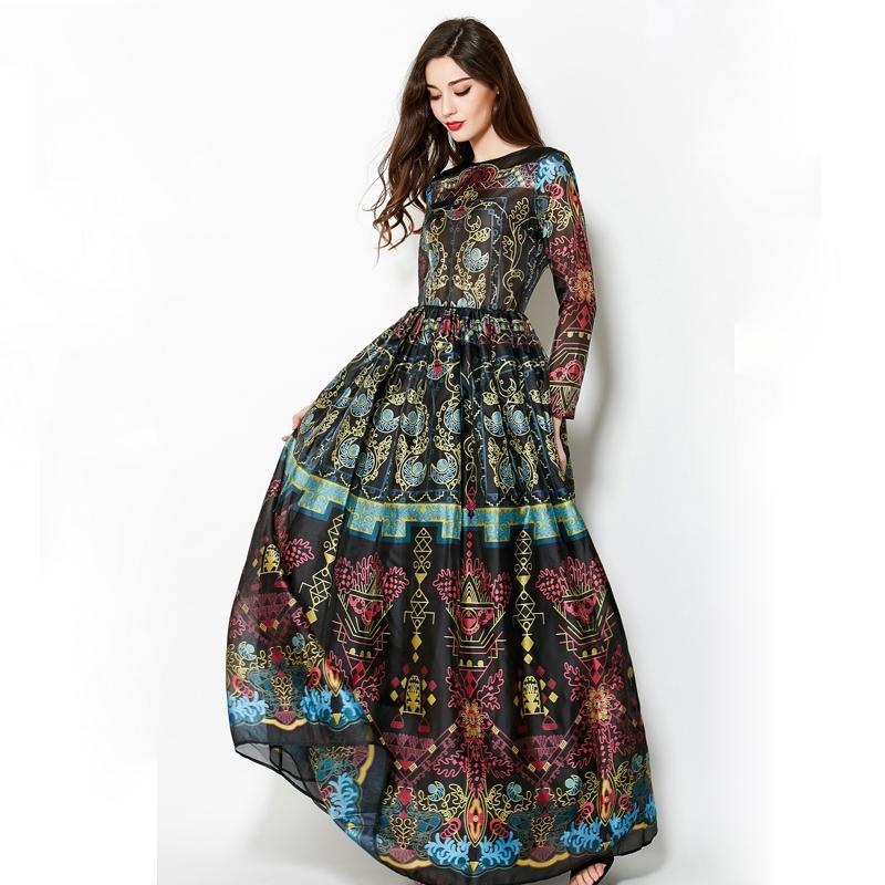 Vintage 2018 Winter Long Sleeves Elegant Empire Ball Gown Temperamental Slim Retro Print Floor-Length Dress Women Maxi T190830