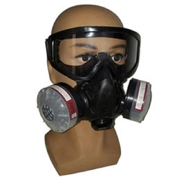 Filtro de gas Media máscara de respiración de filtro cara Respirador con anti-niebla Máscara química de los vidrios de polvo para pintura a pistola de soldadura