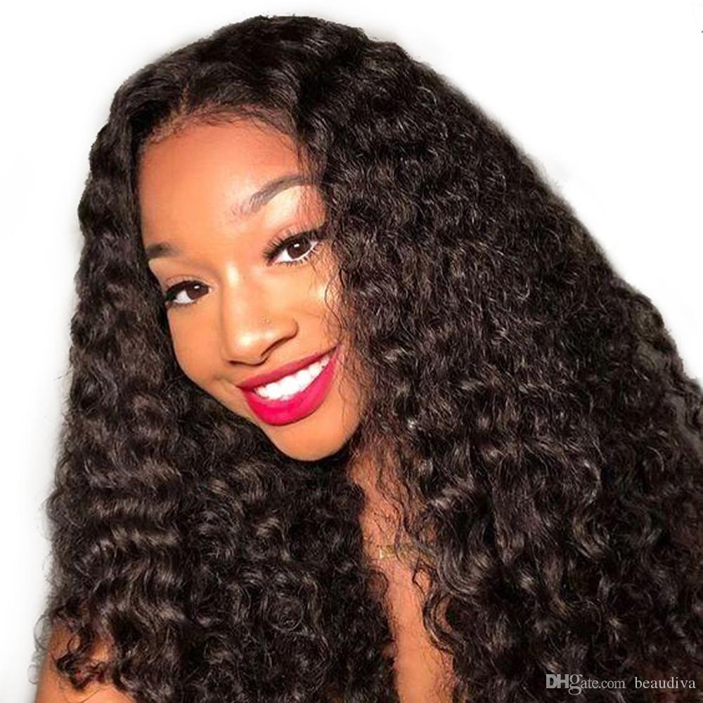 Beaudiva Pre-Plucked Lace Front Human Hair Wigs With Baby Hair Kinky Curly 360 Brazilian Remy Human Hair Lace Wigs Bleached knot