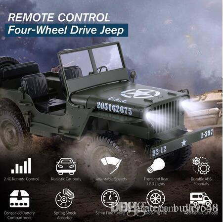 C606 1.10 RC Auto 2.4G 4WD Cabriolet Fernbedienung Licht Jeep Allradantrieb Off-Road Military Climbing-Auto-Spielzeug-Kind-Geschenk
