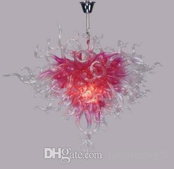 Свадебные украшения Романтического розовые Стеклянные люстры Привлекательного Deft Дизайн Художественные потолочное освещение Современных Подвесная Люстра со светодиодной лампой