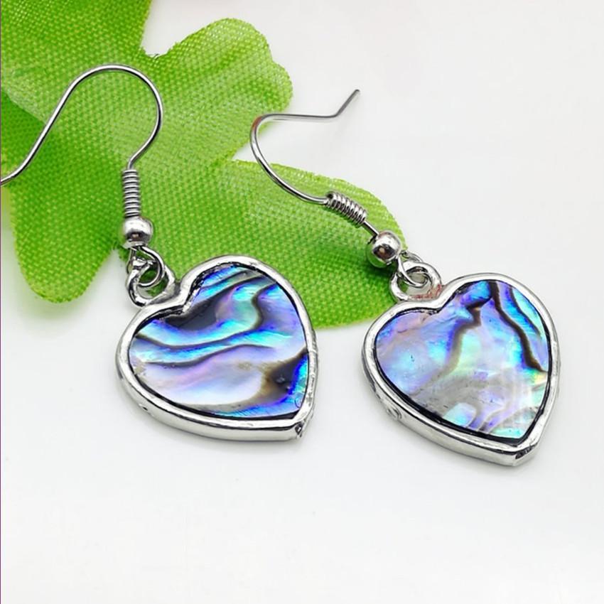 10 Çiftler Romantik Stil Gümüş Kaplama Aşk Kalp Abalone Shell Dangle Küpe Kadınlar Moda Takı için