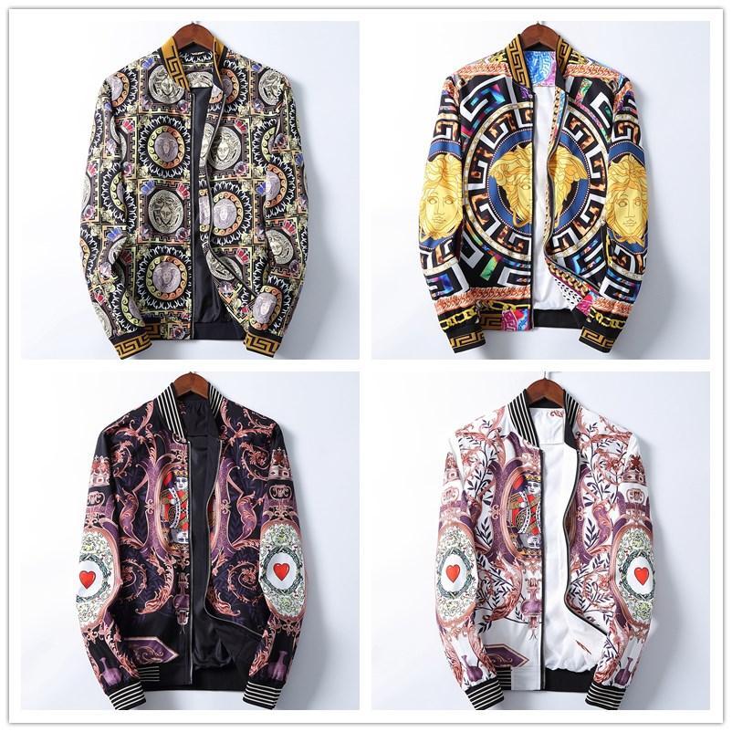 2020 Mens Designers Jacket Hooded Jackets Men Fashion Pattern Print Jacket Long Sleeve Zipper Outdoor Windbreaker Winter Streetwear Coat