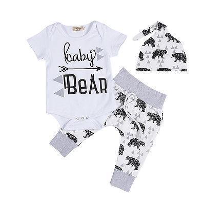 لطيف الوليد ملابس الطفل 3 قطع الصيف الرضع بنات بوي الطفل ارتداءها قمم عارضة الدب السراويل الطويلة طماق قبعة الطفل وتتسابق مجموعة Y190515
