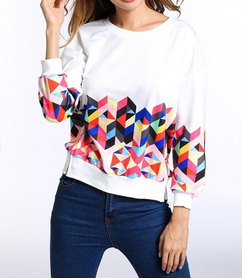 2019 Summer Women Casua O Neck Long Sleeve Sweatshirt Geometric Print Hoodies Zipper Side Drop Shoulder Tops
