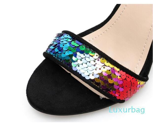 New sexy chunky high heel woman sandals rainbow colorful sequins buckle women sandal bling bling Color sequins chunky sandal