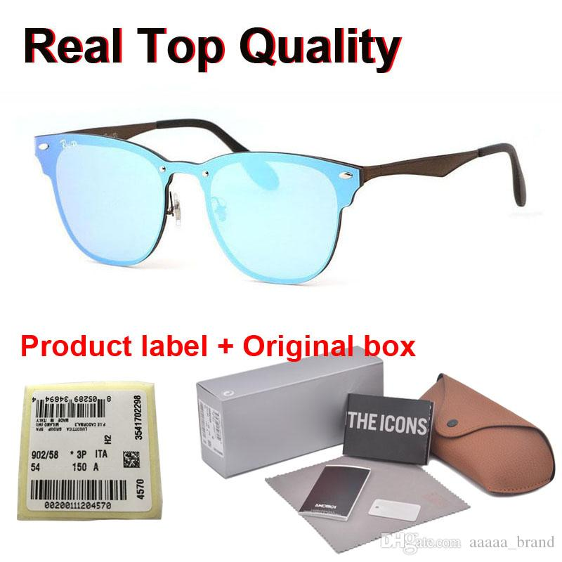 Mükemmel kalite Yeni Moda Gezgin Stil Perçinler Güneş gözlüğü Erkekler Kadınlar Marka tasarımcı Ayna Flaş Güneş Gözlükleri ile Kutu ve etiket
