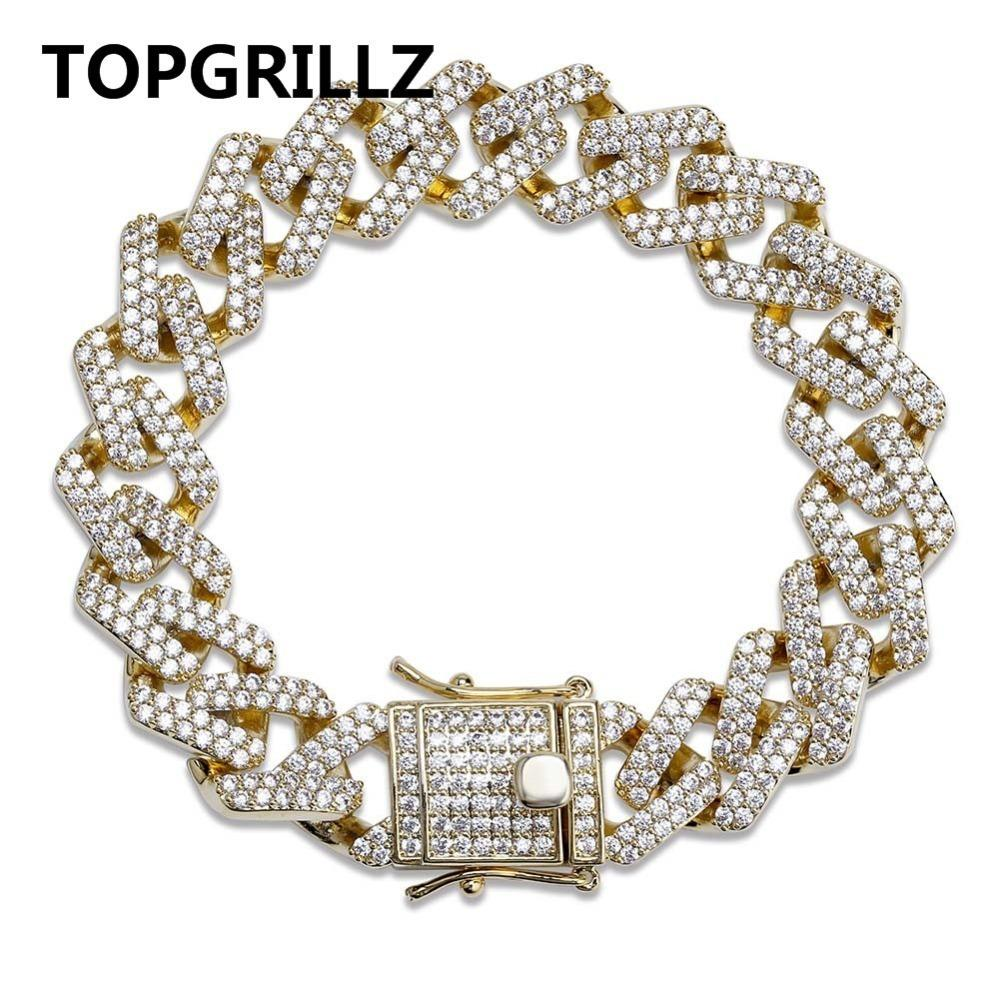 Topgrillz Personality Hip Hop/punk Men's Bracelets Iced Out Cubic Zircon Miami Curb Cuban Link Chain Bracelet Jewelry Gifts SH190727