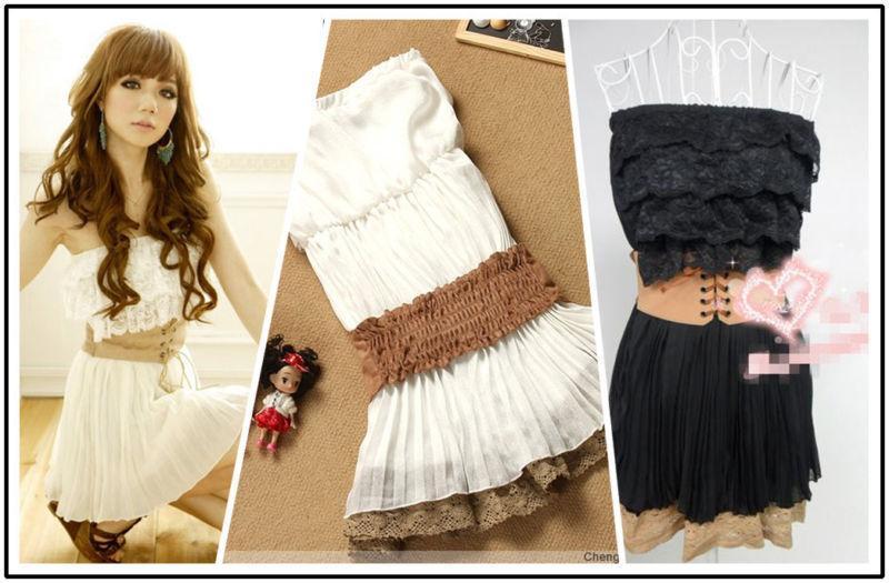 Details über neuen reizende Drape koreanischen Chiffon Strapeless Spitze-Minikleid-Weiß-Gurt-Frauen-B