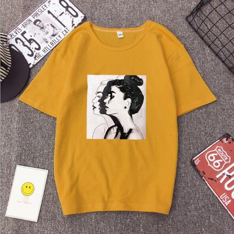 New Fashion T shirt Woman Spring Summer Girls Print Short Sleeve O Neck Cotton Spandex Women Top Slim Fit Soft Women Tshirt