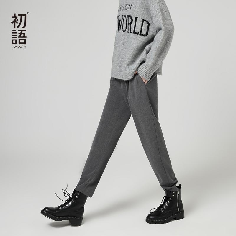 Toyouth autunno caviglia pantaloni di lunghezza per le donne con Pantaloni a vita alta inverno casuale femminile caviglia di moda lungo Ufficio