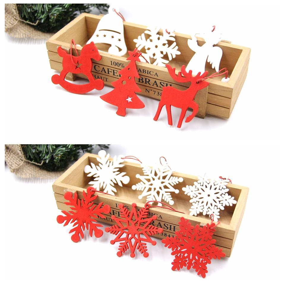 6Pcs//set Red White Wooden Christmas Snowflake Pendant Decoration Crafts Gift Bs