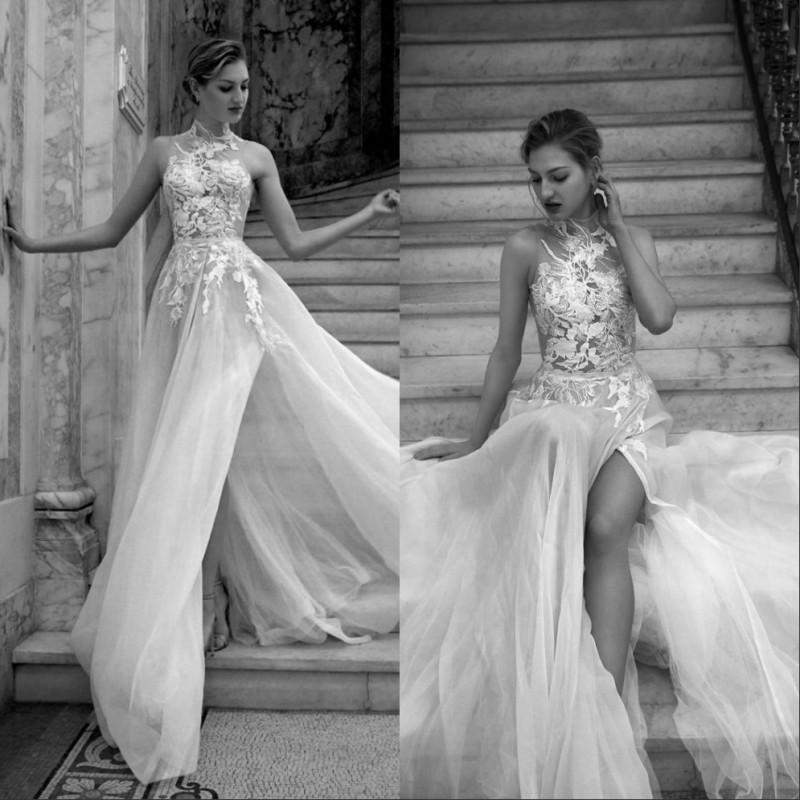 Bohemian Wedding Dresses 2020 Lace Applique High Neck Side Split Sweep Train Illusion Beach Bridal Dress Boho Wedding Gowns