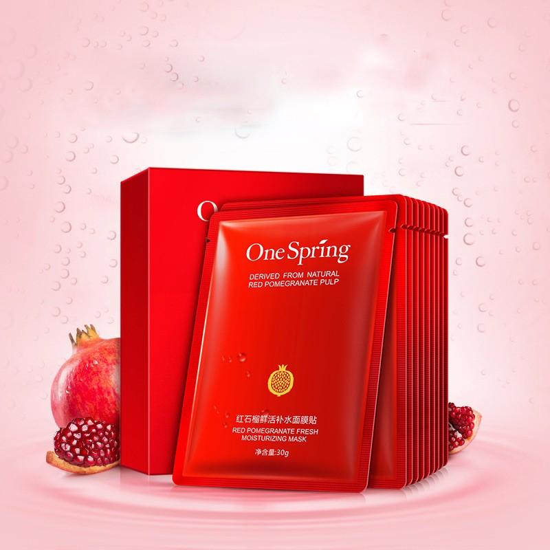 DHL 500pcs OneSpring Red Pomegranate Facial Mask tony moly Moisturising Whitening Mask korean Beauty Masks for Face Sheet Mask Skin Care