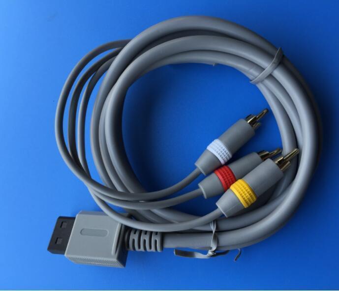 2017 de alta qualidade Composite AV Cable para Nintendo Wii Wii U 1,8 m de linha 6 pés linhas Cabos linha em torno banhado a ouro em estoque fábrica expedição rápida