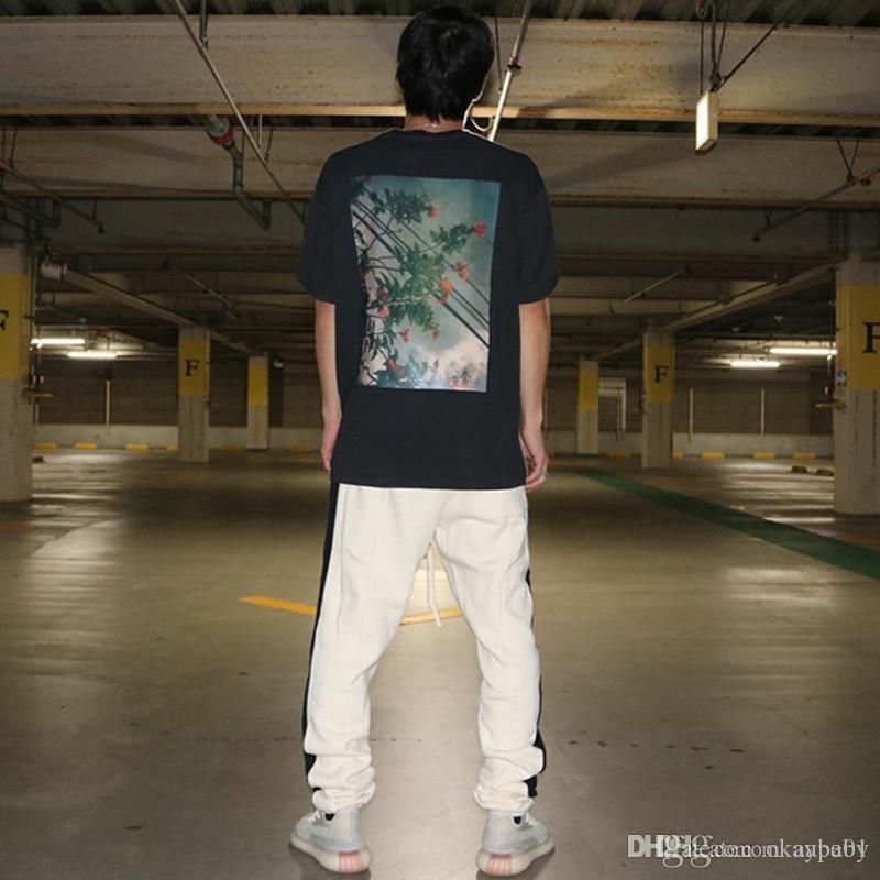 19SS Flower Photos Tee Summer T Shirt New Classic Casual Short Sleeve Streetwear Hip Hop Men Women Designer T Shirt Size S-XL
