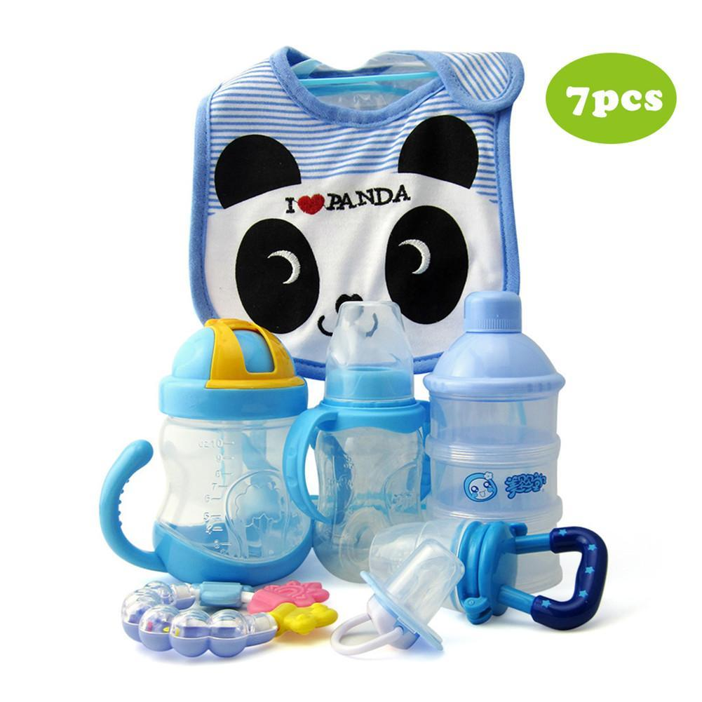 7PCS/Pack Cotton Cartoon Bib Teether Baby Comfort Pacifier Chain  Supplement Bottle Set Baby Pacifiers And Accessories