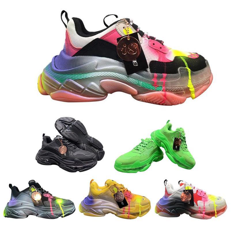 최고 품질 파리 크리스탈 바닥 삼중 S 남성 낙서 스니커즈 여성 럭셔리 다채로운 신발 트레이너 스니커즈 캐주얼 신발 크기 36-45를 실행