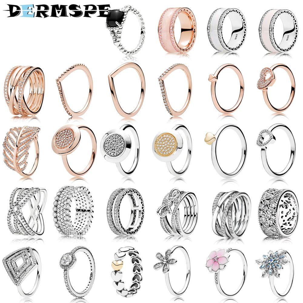 Dermmspe 925 فضة التوقيع الدائري صالح diy سحر مجوهرات تصميم الأزياء هدايا الأصلي للمرأة