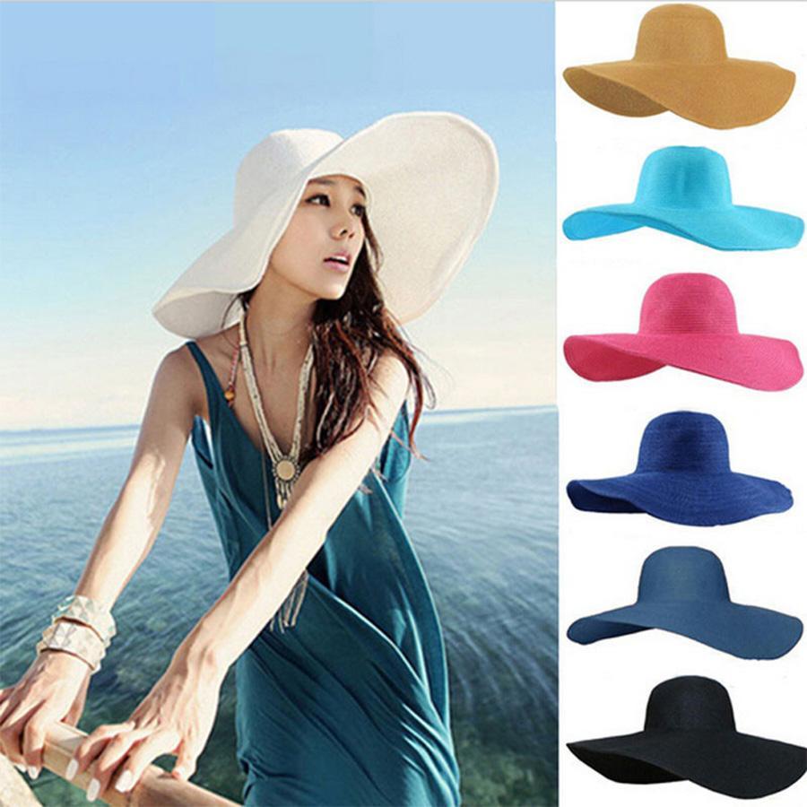 Playa plegable de ala ancha sombrero de paja del color sólido de las mujeres al aire libre de vacaciones sombreado sombrero femenino de verano Mar parasol Caps DH1089 T03