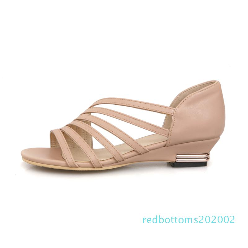 Hot Sale-New PU Kunstleder beiläufige Slip Huarache Low-Keil-Ferse-Sommer-Art-Frauen-Schuhe Sandalen Plus-Sizel r02