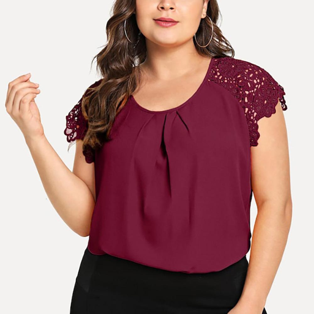 Mujeres top de la blusa de verano blusas de las mujeres de la gasa más el tamaño de las mujeres florales de manga corta de verano de gran tamaño Grote Maten Dames cuello en V 10