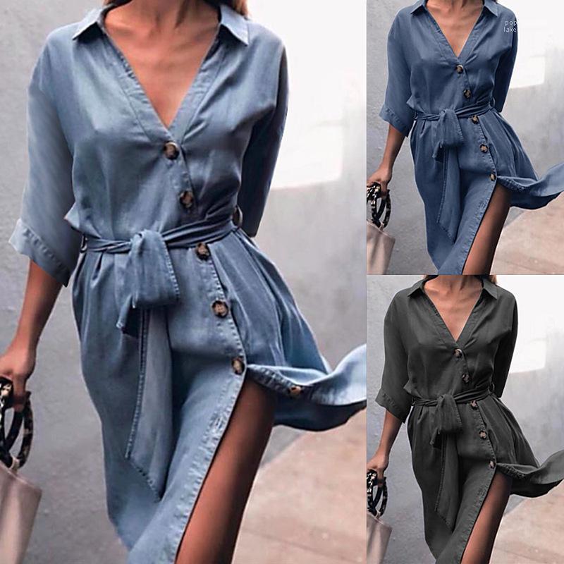 Strap-on Jeans-Hemd-Kleid Medium Hülse V-Ansatz Kleider Mode, Kleidung, Lässige Kleidung Frauen-Sommer-beiläufigen