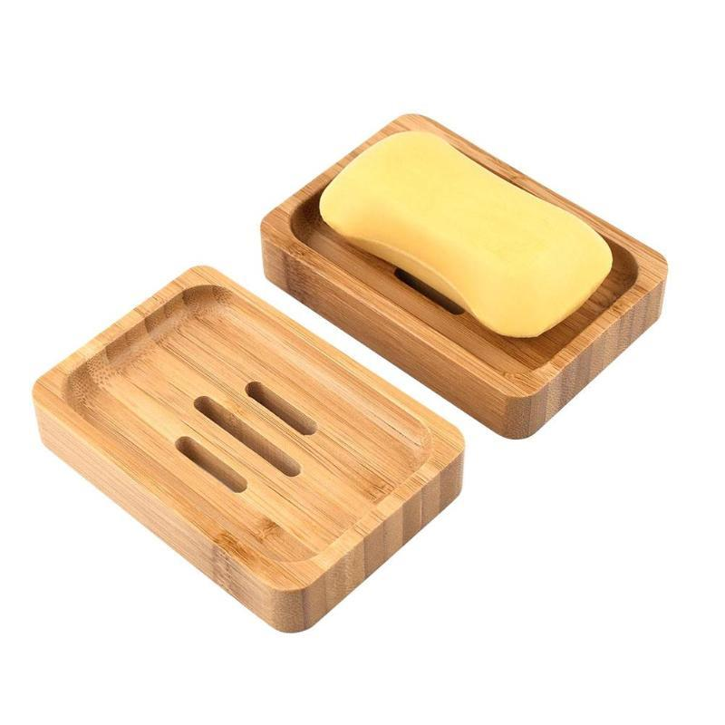 50pcs Natural Bamboo Wooden Soap Holder Soap Box for Bathroom Soap Dish Shower Case Container Storage Box Portable Dish Tray 12.5*8.2*2cm