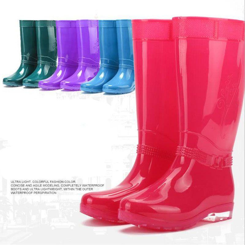 Горячие Продажи-Женщины Дождь Сапоги Дамы Удобные Колено Высокий Твердый Круглый Носок Скольжения Водонепроницаемый Шарм Rainboots 2016 Новая Мода Дизайн Высокий Высокий