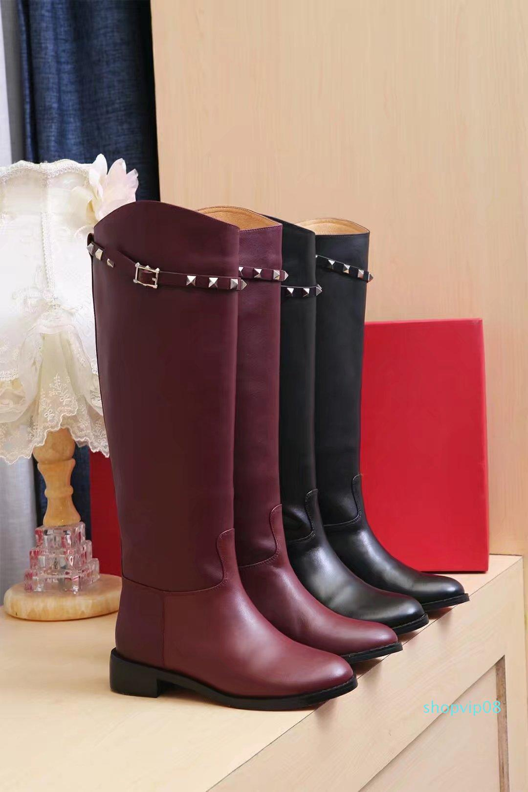 Brand knee high flat boots wine red black long boots women fashion brand leather women's motorcycle boots