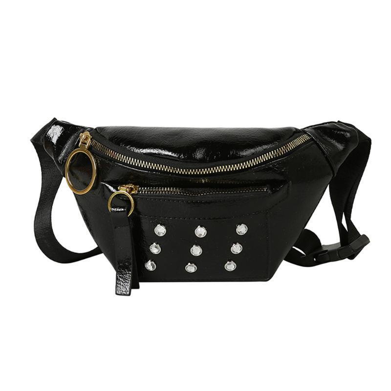 Алмаз Фанни талия сумка женщины искусственная кожа молния Crossbody груди пакет ежедневная Алмазный кожаный кроссбоди кошелек