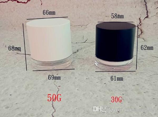 Novo design personalizado luxo acrílico parede dupla creme cosmético jar recipiente de cera longo pescoço boca tampa 50g 30g