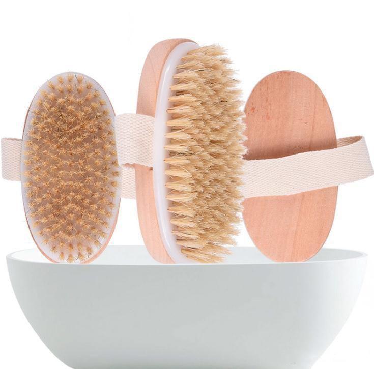 Pele escova de banho a seco Soft Body Natural cerdas SPA A escova de banho de madeira Duche escova de cerdas SPA Brushs corpo sem EEA1336 Handle