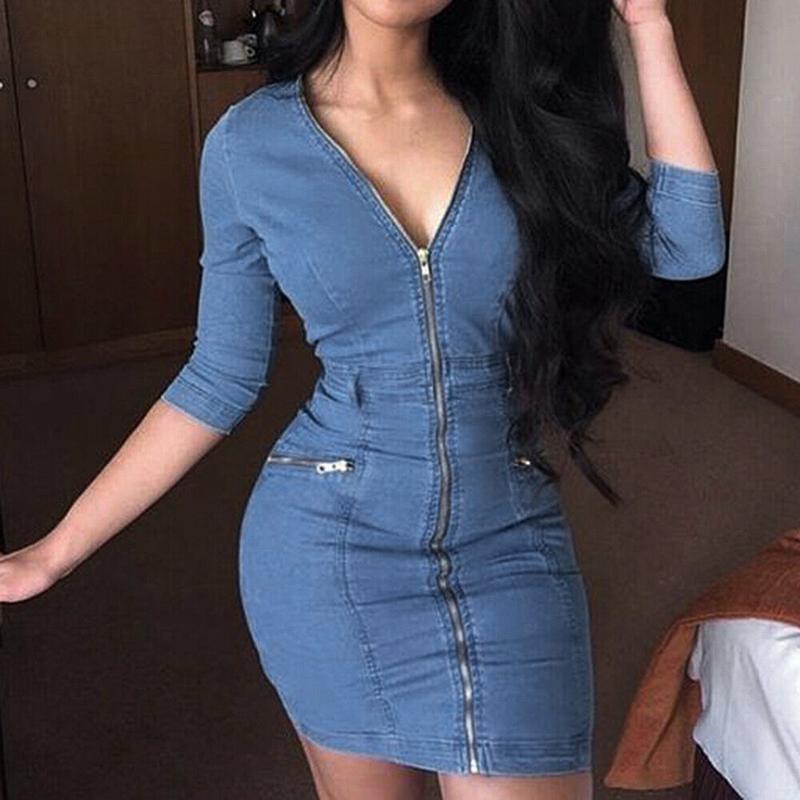 Denim, figurbetontes Kleid Frauen Zipper festes Minikleid lange Frauen Sieben Hülse beiläufige 2020 Vestidos #S