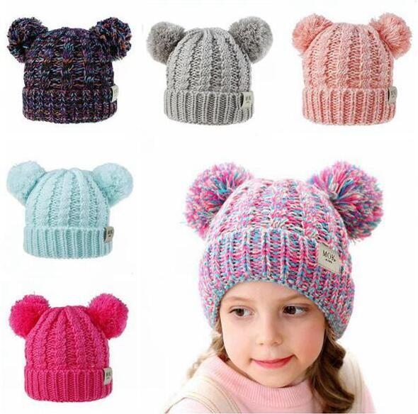 Pom Pom Hat Kid Boy Hat Knit Pom Hat For Baby Girls Winter Kids Caps With Pompom Faux Fur Hats Caps 12 Colors