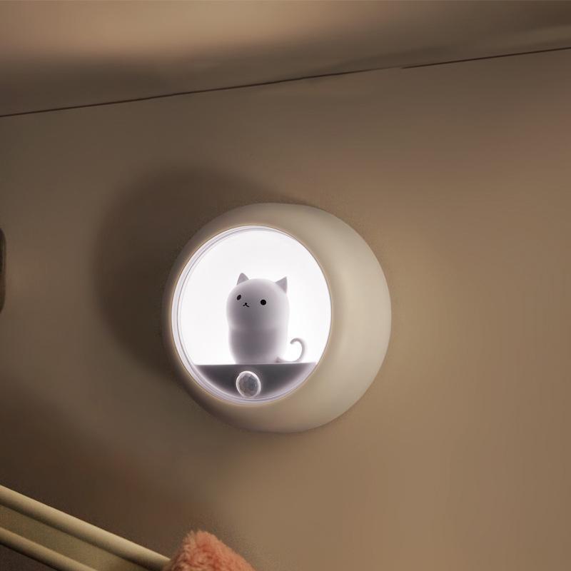 Human body sensor LED night light USB mini cat night lamp for baby room bedroom corridor wall lamp cabinet light corridor light 10099