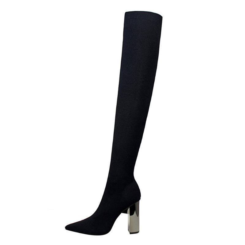 Mulheres Moda de Over The Knee Botas Plataforma Bombas Toe Pointed Sexy Magro Coxa Praça metal de alta das senhoras do salto Sapatinho Shoes