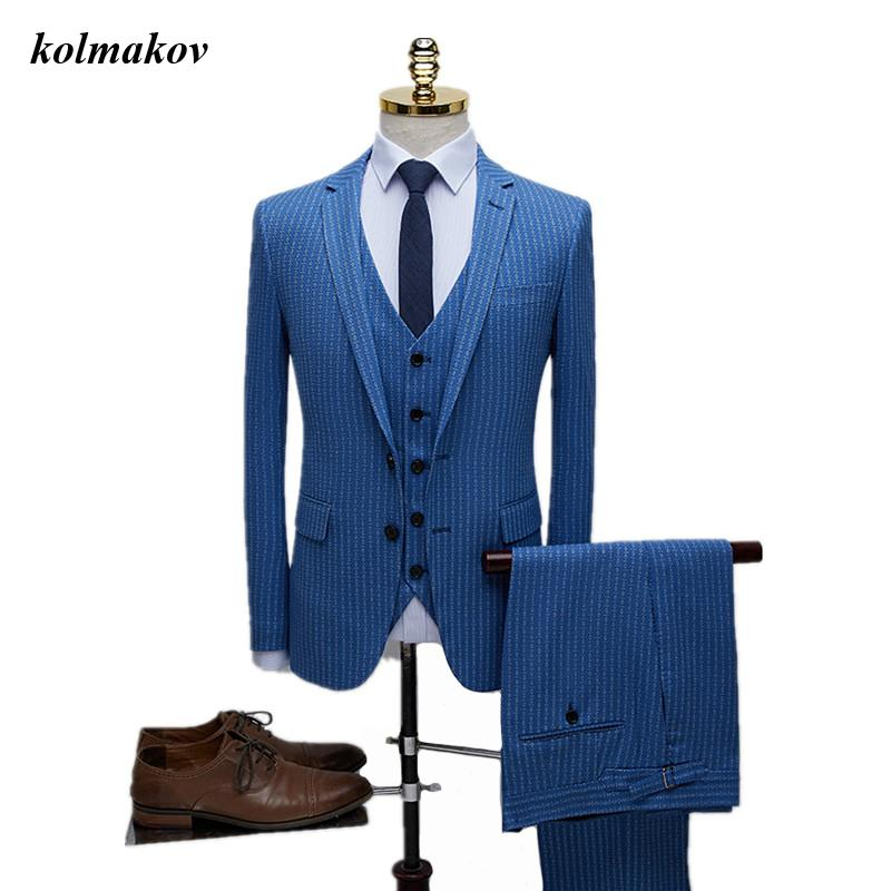 2020 New Arrival Style Men High-end Boutique Wedding Dress Suits Business Casual Stripe Men's Slim Three-pieces Suits Blazers