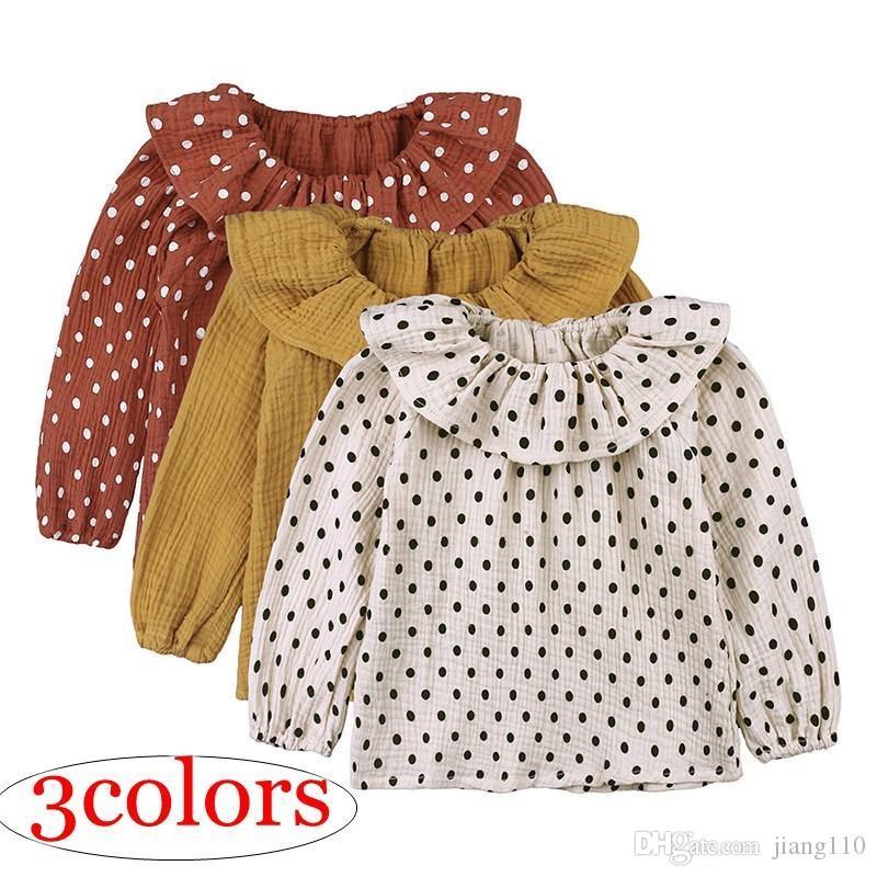 Toddler Bebek Kız Gömlek 2019 İlkbahar Sonbahar Uzun Kollu T-shirt Çocuk Bebek Peter Pan Yaka Pamuk Keten Kızlar Bluz Nokta Tops Bebek Kıyafetleri