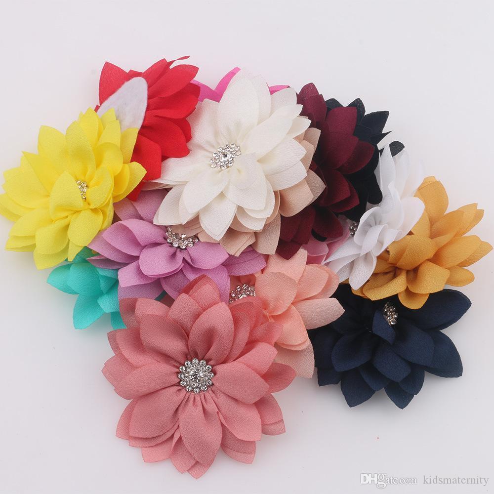 2020 New Boutique Chiffon Fabric Flowers For Headband Hair Clip DIY Headdress Hair Accessories free shipping