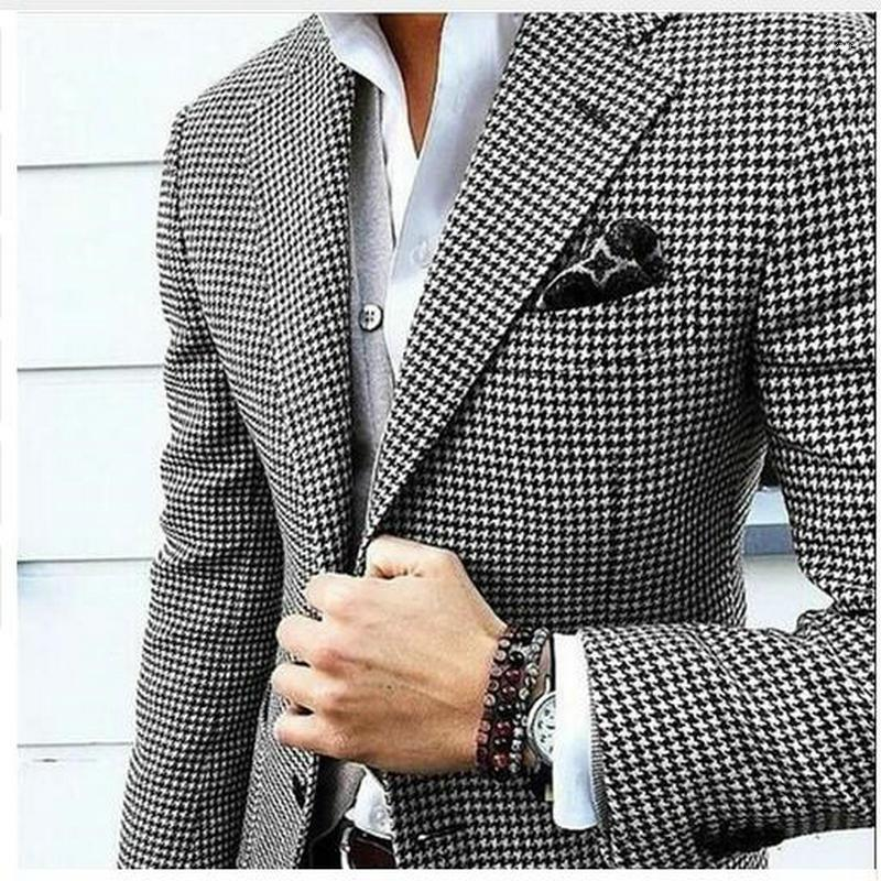 Mens Checkered Suit Houndstooth Custom Made Men Suit Jackets Tailored Casual Men Suits Duotone Weave Hounds1