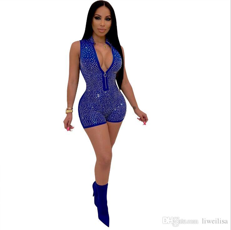 Siamesische Hose Womens Sexy Short Sleeve Strass Muster Fest Bodycon Jumpsuit