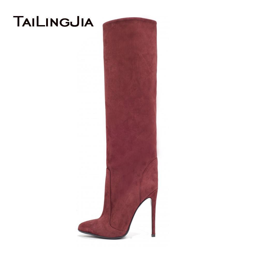 Женская Высокий каблук скольжения на Заостренный носок прямые черные сапоги до колен дамы Вино Серый Замша Faux зимы теплая обувь большого размера