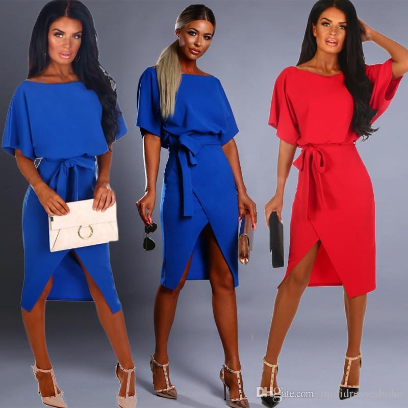 Womens Designer Robes Mode femmes sexy de Split T-shirts Robe avec ceinture Femmes robe à manches courtes Casual