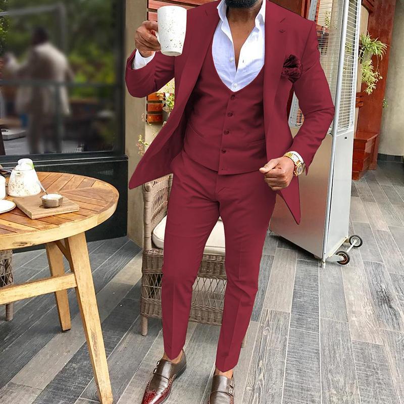 Tailor Made Fest Hochzeit Männer Anzug Slim Fit beiläufige Partei-Abschlussball Blazer Hosen Weste Fashion Style Bräutigam Smoking Individuelle Big Size Set