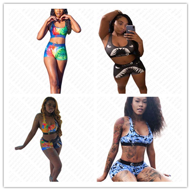 Mujeres Marca traje de baño femenino de 2 piezas D52103 del bikiní del traje de baño del sujetador de los deportes + boxeador troncos de natación Cortocircuitos bikiníes Beachwear Ropa