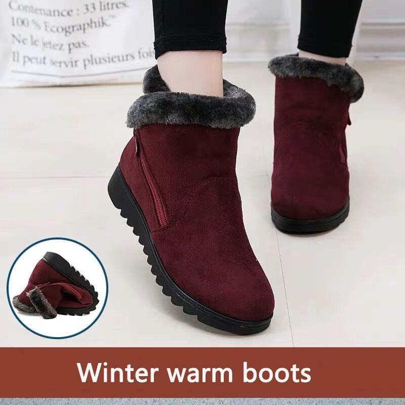 Snow Boots Women Winter Warm Fur Ladies Zip Platform Suede Wedge Fashion Ankle Boot Female Comfort Casual Shoes Plus Size 35-43